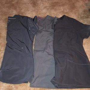 Set of 3 grey scrub tops. All size medium